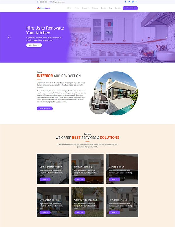 Website template designed for your interior design company