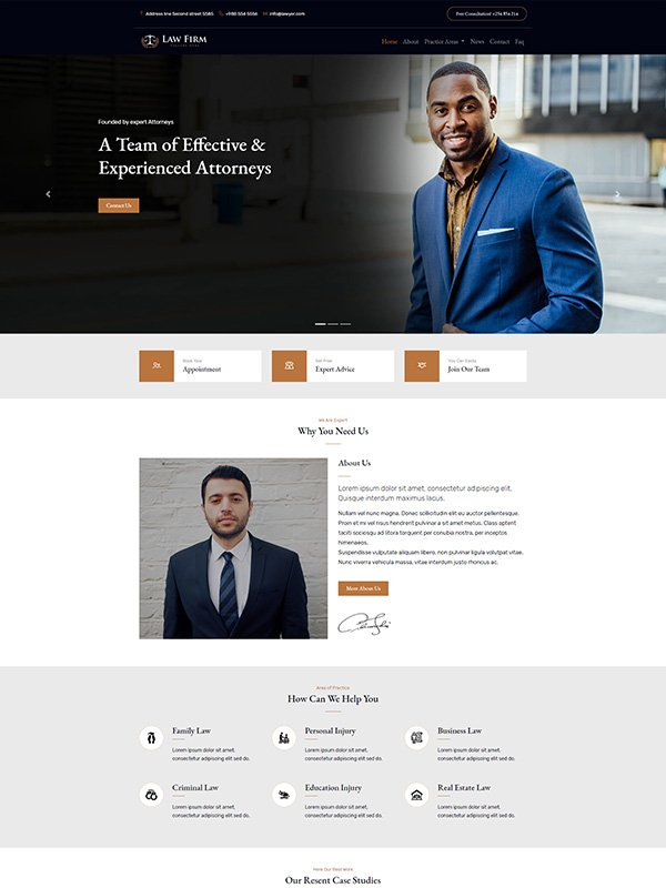 Our best legal or law firm starter website template