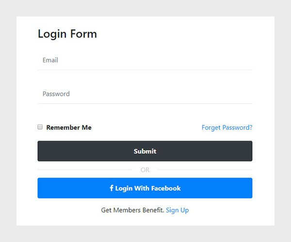 Simple login form design using bootstrap 4