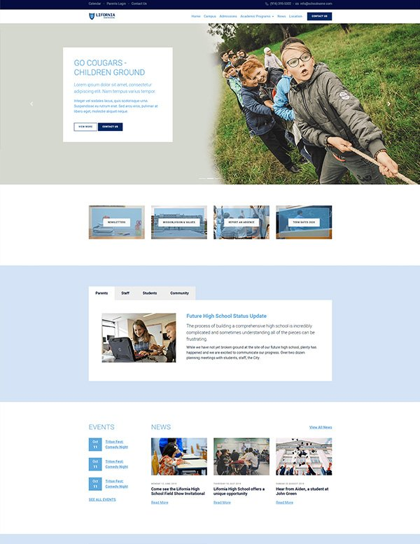 Download free bootstrap template for school website