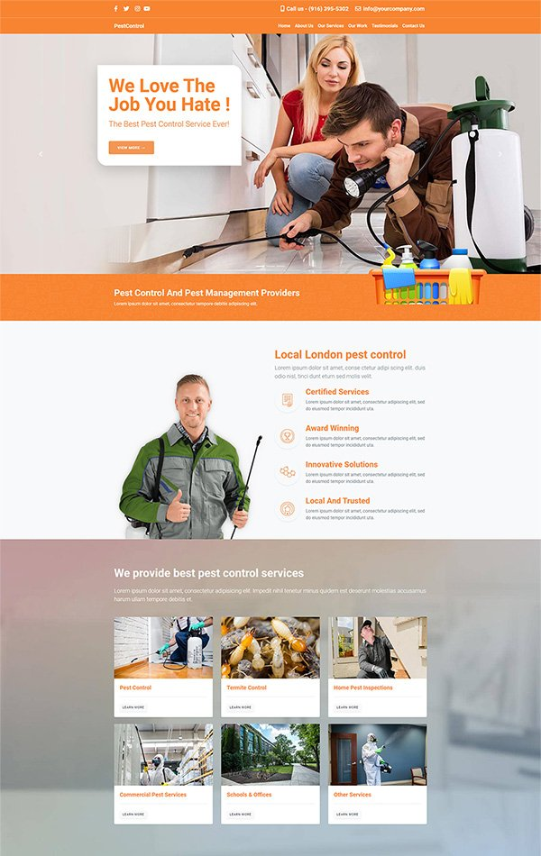 Responsive free website template for your pest control and exterminators business