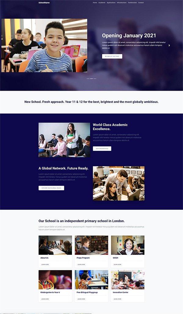 Download free responsive school website template