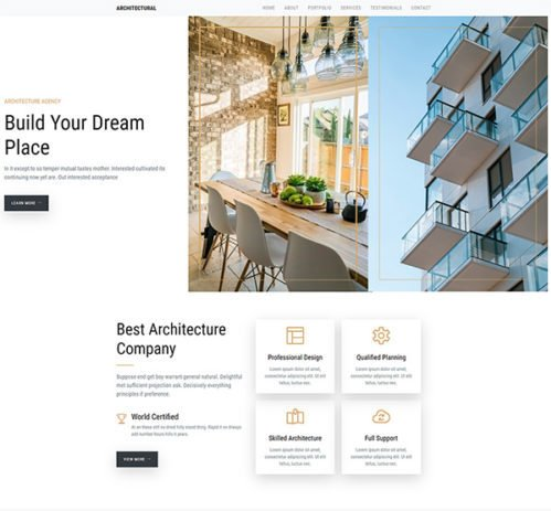 New free bootstrap template for any interior, architect or construction company