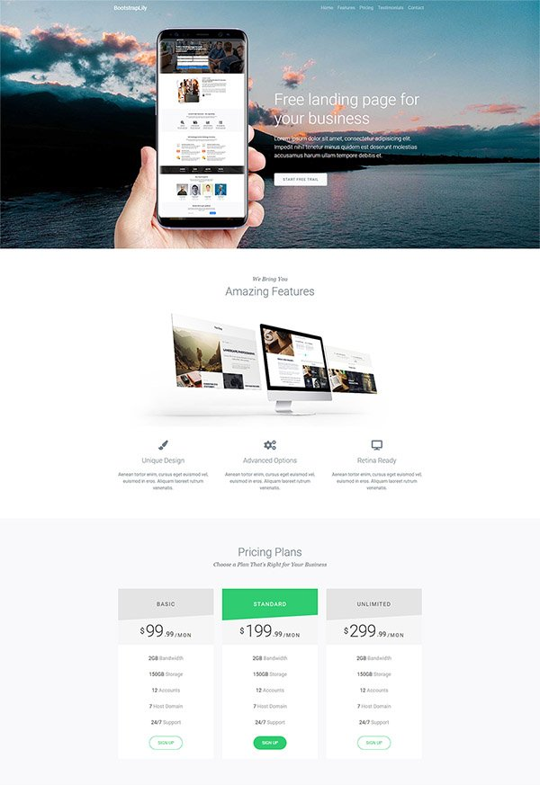 Free bootstrap html landing page design for your business