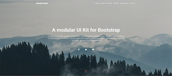 Simple bootstrap hero banner with social media links