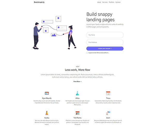 Free bootstrap landing page for any purpose