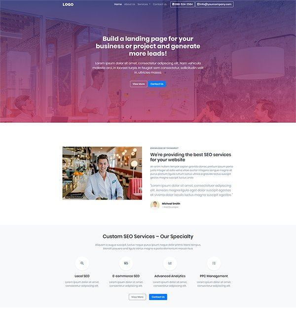 Free bootstrap landing page design for your awesome business