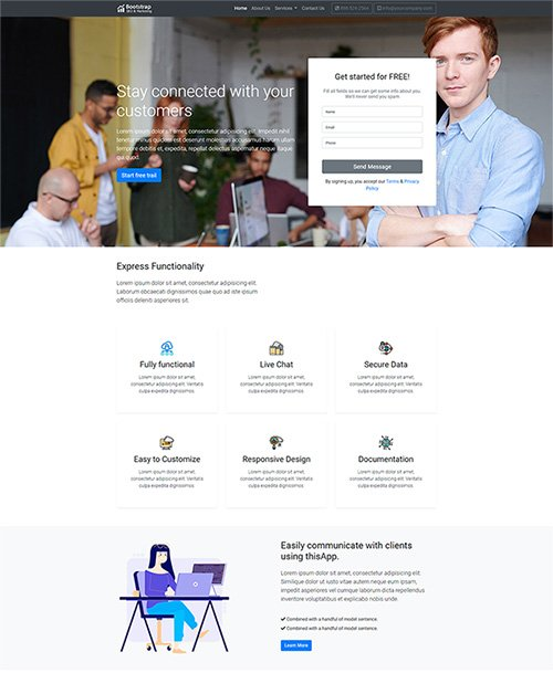 Bootstrap landing page design for your next web project