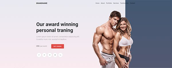Bootstrap responsive hero header for personal training