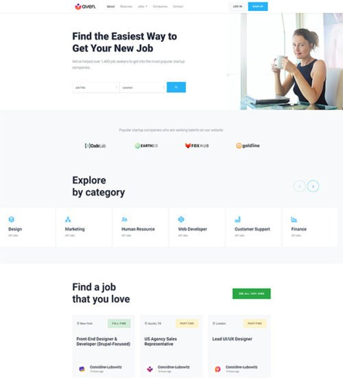 Free job board bootstrap template unique and responsive