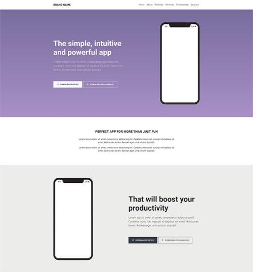 app showcase landing page