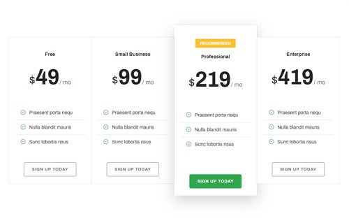 Bootstrap pricing table with easy to implement code