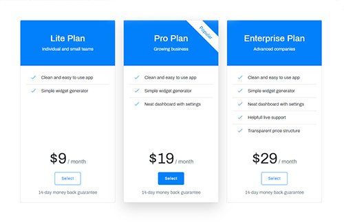 Responsive pricing table design using bootstrap