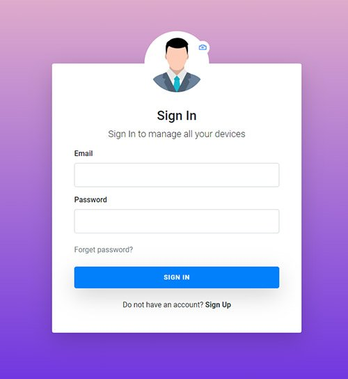 Free bootstrap login form with user image and camera icon
