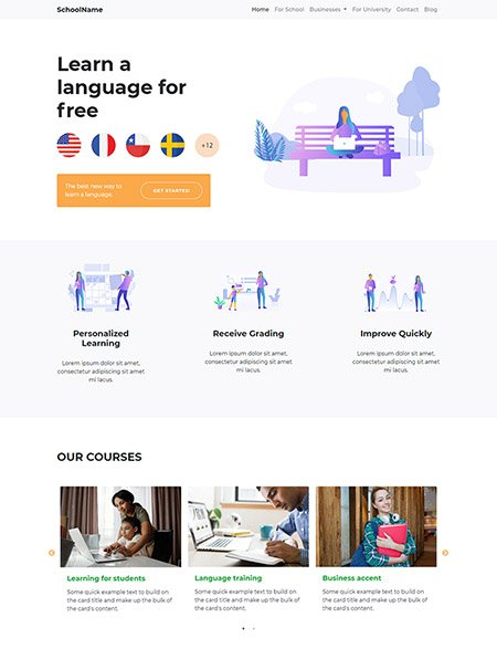free language learning website template