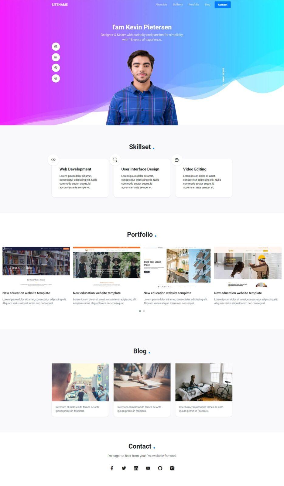 Personal portfolio bootstrap template