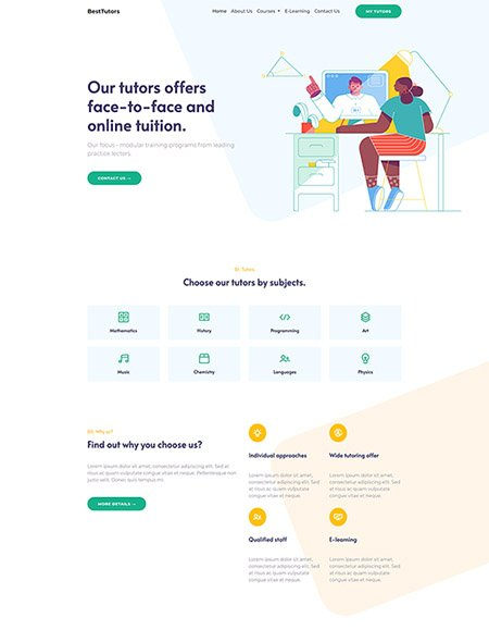 Free Tutor Website Template Made With Bootstrap