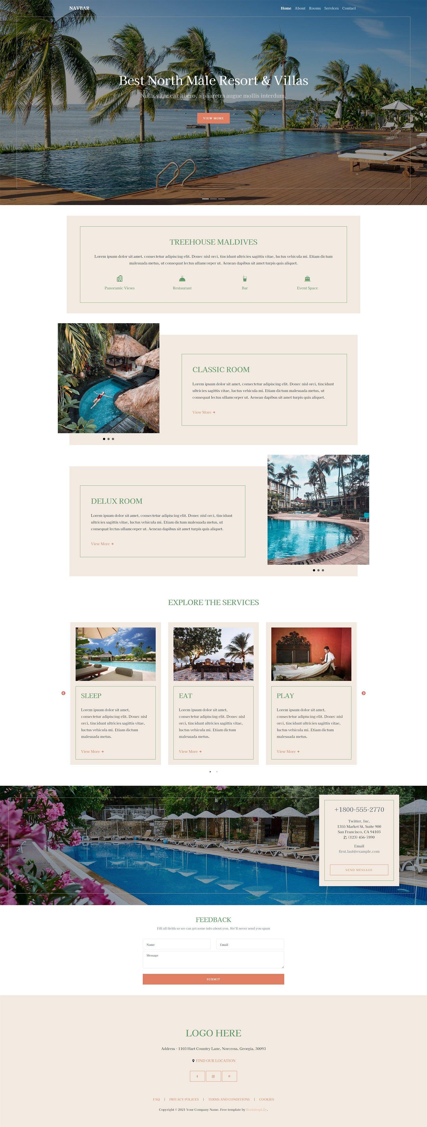 free resort website template